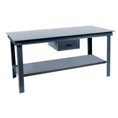 72W x 36D Gray Steel Square Edge Adjustable Height Workbench C-Channel Leg