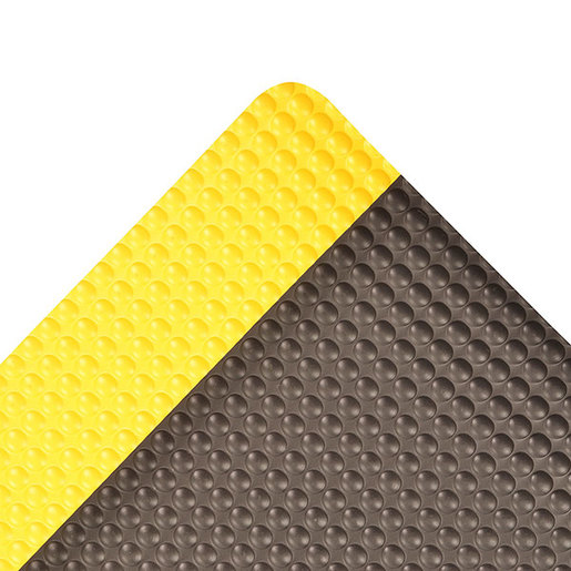 """Superior Manufacturing 2"""" X 3""""  Yellow And Black 1/2"""" Thick Vinyl  482 Bubble Trax™ Non-Slip Anti-Fatigue Floor Mat"""