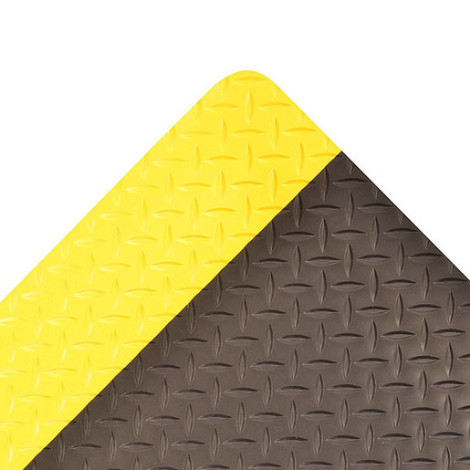 "Superior Manufacturing 2"" X 75"" Yellow And Black 3/4"" Thick Vinyl 975 Cushion Trax® Ultra™ Non-Slip Anti-Fatigue Floor Mat"