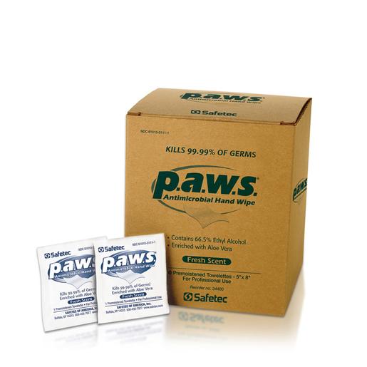 """Safetec® 5"""" X 8"""" P.A.W.S® Antimicrobial Hand Wipe (100 Per Box, 10 Boxes Per Case)"""