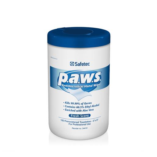 """Safetec® 5"""" X 8"""" P.A.W.S® Antimicrobial Hand Wipe (160 Per Box, 12 Boxes Per Case)"""