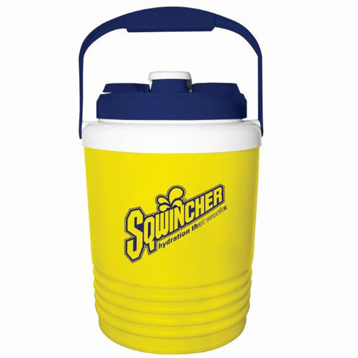 Sqwincher® 1 Gallon Yellow And Blue Cooler With Screw On Top With Handle