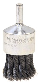 """Radnor 1 1/8"""" X 1/4"""" Carbon Steel Knot Wire Mounted End Brush For Use On Die Grinders And Drills"""