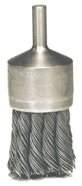 """Radnor 1 1/8"""" X 1/4"""" Stainless Steel Knot Wire Mounted End Brush For Use On Die Grinders And Drills"""