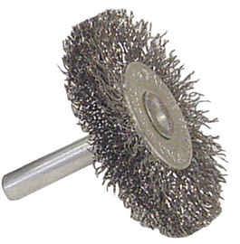 """Radnor 1 1/2"""" X 1/4"""" Carbon Steel Coarse Crimped Wire Mounted Wheel Brush For Use On Die Grinders And Drills"""