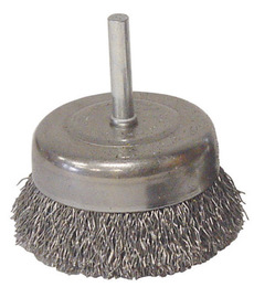 """Radnor 2 1/2"""" X 1/4"""" Carbon Steel Fine Crimped Wire Mounted Cup Brush For Use On Die Grinders And Drills"""