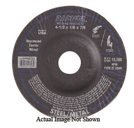 """Radnor 4 1/2"""" X 1/4"""" X 5/8"""" - 11 A24Q Aluminum Oxide Type 27 Depressed Center Grinding Wheel For Use With Right Angle Grinder On Aluminum"""