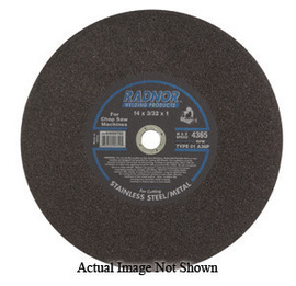 """Radnor 12"""" X 3/32"""" X 1"""" A36P Aluminum Oxide Reinforced Type 1 Cut Off Wheel For Use With Chop Saw On Metal"""