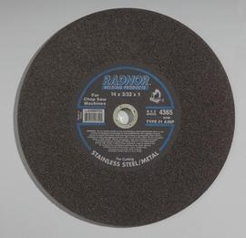 """Radnor 14"""" X 3/32"""" X 1"""" A36P Aluminum Oxide Reinforced Type 1 Cut Off Wheel For Use With Chop Saw On Metal"""