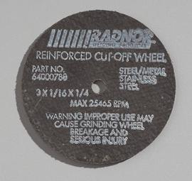 """Radnor 3"""" X 1/16"""" X 1/4"""" A36T Aluminum Oxide Reinforced Type 1 Cut Off Wheel For Use With Straight Shaft Grinder On Metal"""