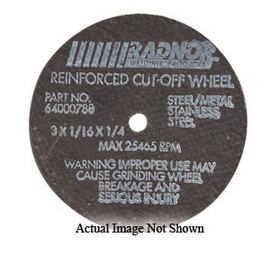 """Radnor 3"""" X 1/16"""" X 3/8"""" A36T Aluminum Oxide Reinforced Type 1 Cut Off Wheel For Use With Straight Shaft Grinder On Metal"""