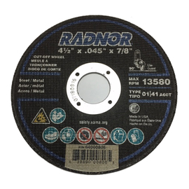 """Radnor 4 1/2"""" X .0400"""" X 7/8"""" A60T Aluminum Oxide Reinforced Type 1 Cut Off Wheel For Use With Right Angle Grinder On Metal"""