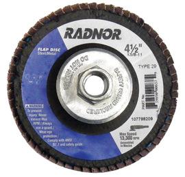 "Radnor 4 1/2"" X 5/8"" - 11 40 Grit Zirconia Alumina Type 29 Flap Disc With Fiberglass Back"
