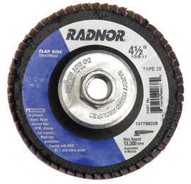 "Radnor 4 1/2"" X 5/8"" - 11 120 Grit Zirconia Alumina Type 29 Flap Disc"