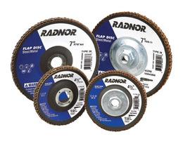 "Radnor 4 1/2"" X 5/8"" - 11 60 Grit Zirconia Alumina Type 27 High Density/Jumbo Flap Disc"