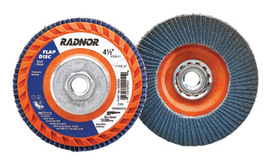 """Radnor 4 1/2"""" X 5/8"""" - 11 60 Grit Zirconia Alumina Type 27 Flap Disc With Trimmable Plastic Back"""