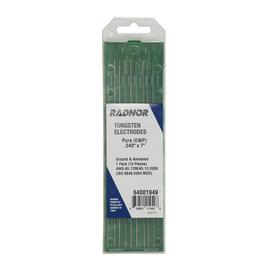 "Radnor 0.040"" X 7"" Ground Finish Pure Tungsten Electrode (10 Per Package)"