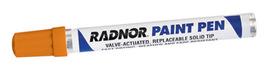 Radnor Orange Valve Action Paint Pen Marker (12 Per Box)