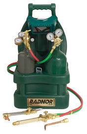 Radnor Victor Style Tote Light-Duty Acetylene Brazing, Welding And Cutting Outfit With Cylinder Carrier And 20 cu ft Oxygen And MC Acetylene Cylinders ,CGA-200 (Gas Not Included)