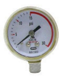 "Radnor 2 1/2"" X 30 PSI Brass Red Line Replacement Regulator Gauge"