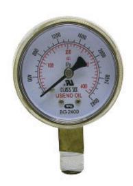 "Radnor 2 1/2"" X 400 PSI Brass Replacement Regulator Gauge"
