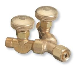 "Radnor 111 B-Size Female Inlet To B-Size Male Outlets Right Hand Threaded Brass Valved Oxygen ""Y"" Connector"