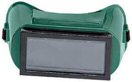 """Radnor Fixed Front Welding Goggles With Green Soft Frame And Shade 5 Green 2"""" X 4"""" Lens"""