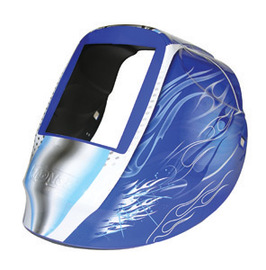 """Radnor Nylon RD Series Welding Helmet Shell With 5 1/4"""" X 4 1/2"""" Fliter Opening And Blue Fusion Graphics"""