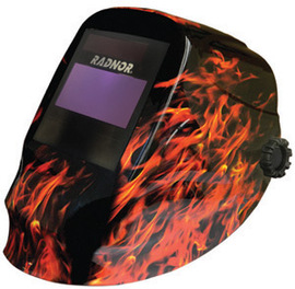 "Radnor RD48 Black And Red Welding Helmet With 5 1/4"" X 4 1/2"" Variable Shade 9-13 Auto Darkening Lens And Blaze II Graphics"