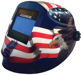 "Radnor RDX60 Red, White, And Blue Welding Helmet With 5 1/4"" X 4 1/2"" Variable Shade 5-14 Auto Darkening Lens And Allegiance Graphics"