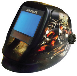 "Radnor RDX81 Black Welding Helmet With 5 1/4"" X 4 1/2"" Variable Shade 5-14 Auto Darkening Lens And Incinerator Graphics"