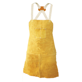 """Radnor 24"""" X 30"""" Bourbon Brown Side Split Leather Bib Apron With Two Chest Pockets, Cotton Crossed Back Straps And Side Release Buckles"""