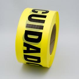 "Radnor 3"" X 1000' Yellow 2 mil Bilingual Barricade Tape ""Caution Cuidado"""