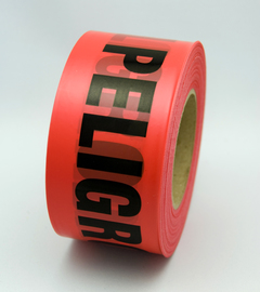 "Radnor 3"" X 1000' Red 2 mil Bilingual Barricade Tape ""Danger Peligro"""