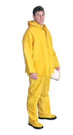 Radnor Medium Yellow .32 mm Polyester And PVC 3 Piece Rain Suit (Includes Jacket With Front Snap Closure, Detached Hood And Snap Fly Bib Pants)