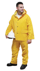 Radnor Medium Yellow .35 mm Polyester And PVC 3 Piece Rain Suit (Includes Jacket With Front Snap Closure, Detached Hood And Snap Fly Bib Pants)