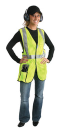 "Radnor 2X Yellow Lightweight Polyester Class 2 Break-Away Vest With Front Hook And Loop Closure, 2"" 3Mª Scotchliteª Reflective Tape Striping And 2 Pockets"