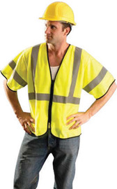 "Radnor 2X - 3X Hi-Viz Yellow Polyester And Mesh Class 3 Value Vest With Zipper Front Closure, 2"" Silver Reflective Tape Striping And 2 Pockets"