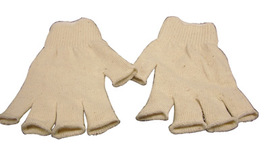 Radnor Ladies Natural 7 Cut Standard Weight Polyester/Cotton Fingerless String Gloves With Knit Wrist
