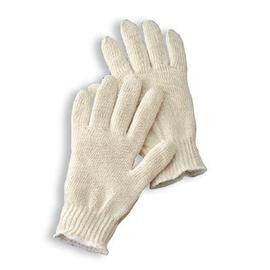 Radnor Ladies Natural Medium Weight Cotton Ambidextrous String Gloves With Knit Wrist