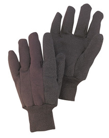 Radnor Ladies Brown 9 Ounce Cotton/Polyester Blend Jersey Gloves With Knitwrist And PVC Dotted Palm, Thumb And Index Finger