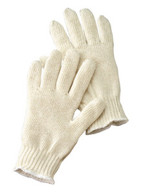 Radnor Ladies Natural Light Weight Polyester/Cotton Seamless String Gloves With Knit Wrist