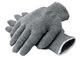 Radnor Ladies Gray Medium Weight Polyester/Cotton Ambidextrous String Gloves With Knit Wrist