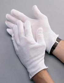 """Radnor Men's White 9"""" Heavy Weight 100% Cotton Reversible Inspection Gloves With Unhemmed Cuff"""