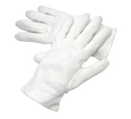 Radnor Large White Heavy Weight Seamless Knit 100% Cotton Dress Inspection Gloves With Open Cuff