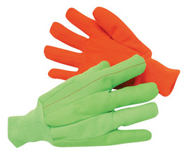 Radnor Large Hi-Viz Green 18 Ounce Cotton/Polyester Blend Fully Corded Cotton Canvas Gloves With Knitwrist And Double Palm