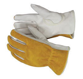 Radnor 2X Premium Grain Split Back Cowhide Unlined Drivers Gloves With Keystone Thumb And Shirred Elastic Back (Carded)