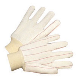 Radnor Large White 18 Ounce Cotton/Polyester Blend Fully Corded Cotton Canvas Gloves With Knitwrist And Double Palm