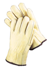 Radnor Large Grain Cowhide Unlined Drivers Gloves With Straight Thumb, Slip-On Cuff, Brown Hem And Shirred Elastic Back
