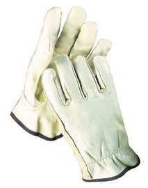 Radnor Large Grain Cowhide Unlined Drivers Gloves With Keystone Thumb, Slip-On Cuff, Brown Hem And Shirred Elastic Back